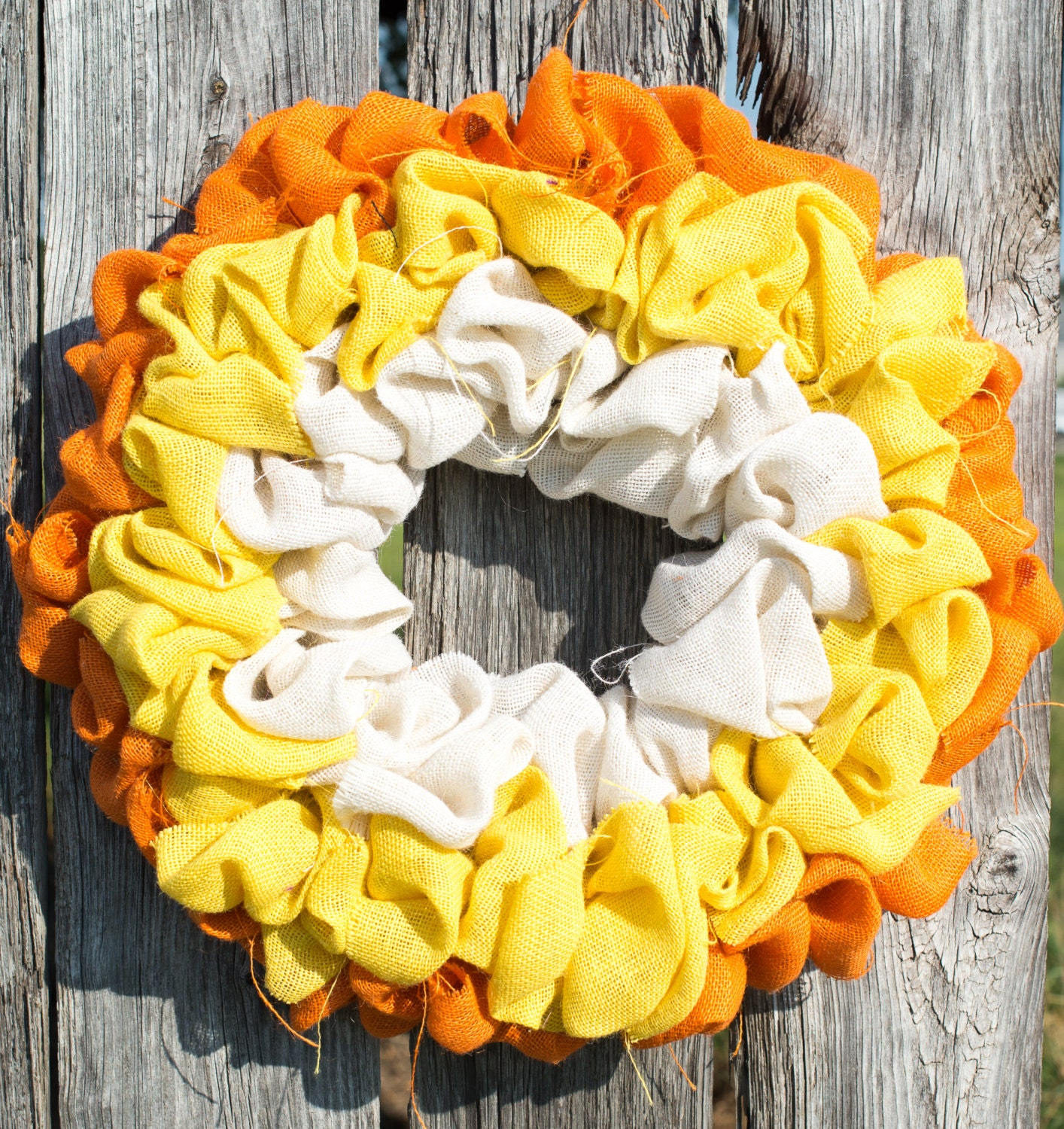"Hinterland Trading Burlap Candy Corn Wreath 22"" Thanksgiving and Halloween"
