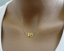 Bicycle Necklace, Bike neckace, Golf filled Bicycle necklace, Bicycle Jewelry, Sports Jewelry, Tour De France