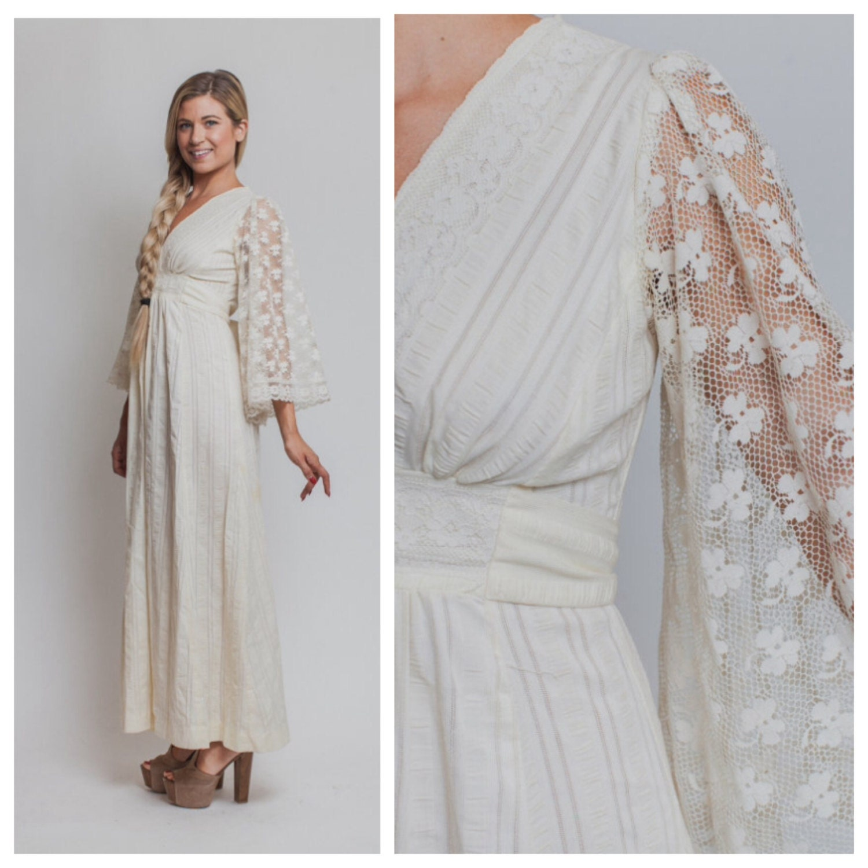 Boho wedding dress Vintage 70s CREAM bohemian LACE maxi angel
