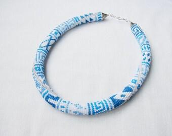 White Beaded crochet necklace, blue Bead Crochet Rope, Crochet Woman necklace, Statement crochet necklace, Greek meanders