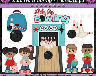 Let's Go Bowling Clip Art Set - INSTANT DOWNLOAD - Digital Scrapbooking Graphics Craft Clipart Elements