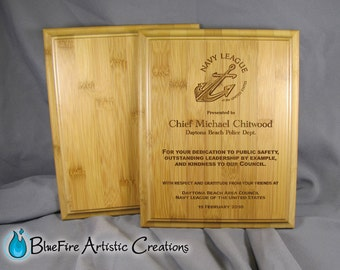 Bamboo Award Plaque, Wood Plaque Trophy Laser Engraved Plaque