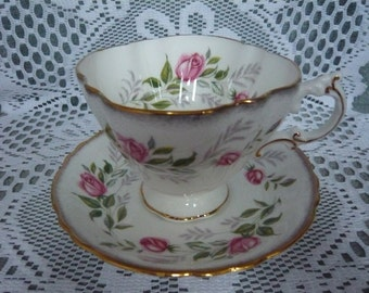 Vintage PARAGON Cup and Saucer Quatrefoil Shaped 1957 to 1960s