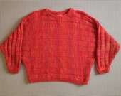 1980's, horizontal rib-knit, wool and mohair, dolman sleeve sweater, in garden tomato soup, by Benetton