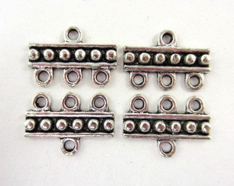 16pcs Three-Strand Raised Dots Connector with Ring Silver Plated (F1524)