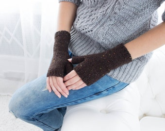 Dark Brown Fingerless Woolen Gloves For Women Short Warm Knitted Gloves Gifts For Women Birthday gifts
