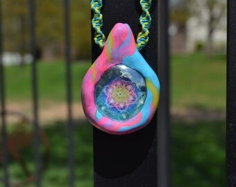 Sacred Geomtry Clay Hemp Necklace
