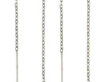 10pcs sterling silver diamond cut cable chain ear threader earring ear wire  E13s