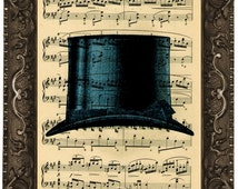 Blue Top Hat, classic British top hat antique upcycled sheet music score book page recycled dictionary fine art print vintage blue top hat