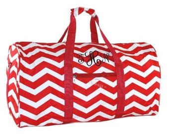 "Monogrammed Duffle Bag | Personalized Chevron Girls Cheer Duffel | Travel Duffle | Overnight Duffel | Gym Duffel Bag |  Red Duffle Bag 21"""