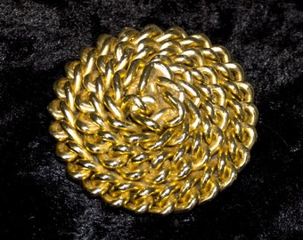 Funky Goldtone Chain Brooch - 1980s