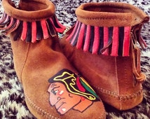 Custom Hand Painted Chicago Blackhawks Moccasins Boots