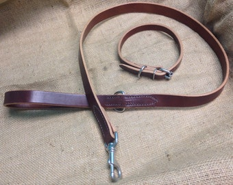 """Leash (or Lead) and Collar Set, Amish Handmade from Chahin """"Rich Brown"""" Harness Leather, for Dogs and Pets"""