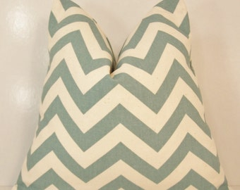 PILLOW COVER Throw Premier Prints Handmade Custom Modern Accent Pillows 14 16 18 20 24 Village Blue Natural  Zig Zag Chevron