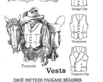 "Men's Cowboy Western Vest in 4 Styles Sizes 34-58"" Chest - Buckaroo Bobbins Sewing Pattern"