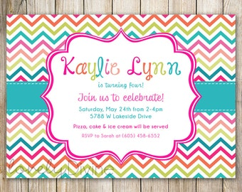 Chevron Colorful Birthday Invitation, 1st Birthday Invitation, 2nd Birthday Invitation, 3rd Birthday, 4th, 5th, 6th, 7th, etc, PRINTABLE