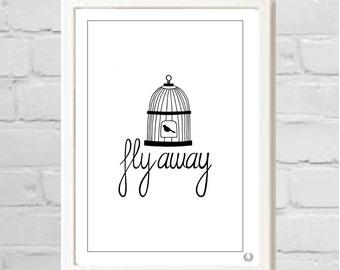 Fly Away Birdcage  Illustration Print
