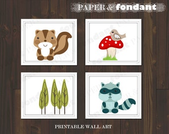 INSTANT DOWNLOAD - PRINTABLE Wall Art - Poster - Woodland theme featuring Squirrel & Raccoon