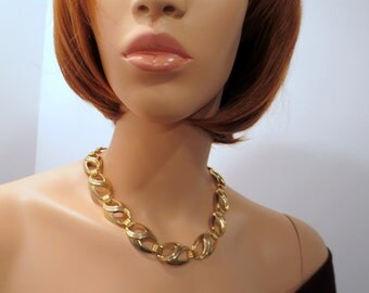 Vintage Retro gold tone necklace Chunky 1980s vintage jewelry jewellery