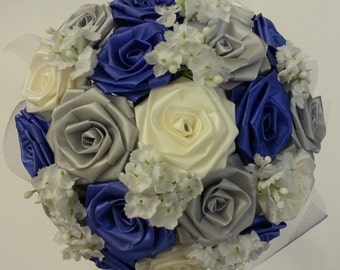 CREATE YOUR OWN Ribbon Flower Bouquet/ Bridal Bouquet/ Bridesmaid Bouquet/ Weddings/ Sweet 16/ Anniversary/ Birthday