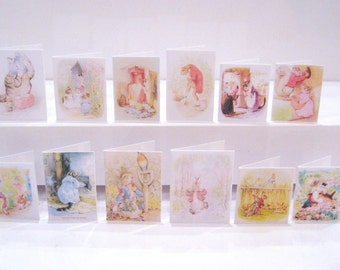 miniature beatrix potter dollhouse cards  12th scale display x 12 set C  lakeland artist