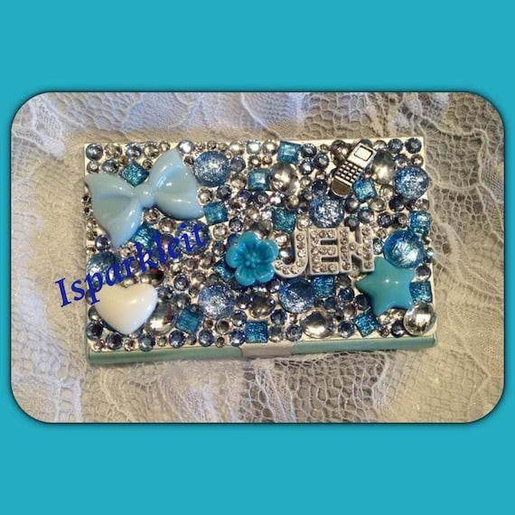 Items similar to custom bling rhinestone sparkle business for Bling business card holder