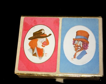 Jim Howle Clown Double Deck Playing Cards 1981 Congress Playing Cards Cel-U-Tone Finish