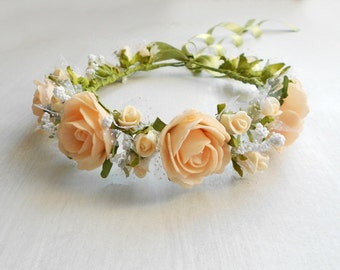 Bridal Floral Hair Wreath / Headpiece of Peach Blooms / Handmade Wedding Accessory
