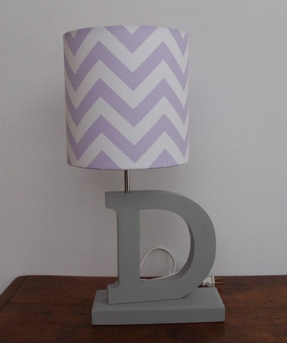 small lilac purple and white chevron drum lamp shade nursery girl 39 s. Black Bedroom Furniture Sets. Home Design Ideas