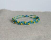Bracelet For Him / Turquoise Friendship Bracelet / Tribal Jewelry / Unisex Bracelet / Fiber Jewelry / Adjustable Size