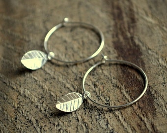 Silver Leaf Charm Earrings- Minimalist Earrings- Small Hoop Earrings