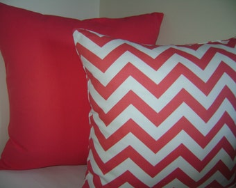 Coral Pillow Covers, Set of Two 16''x16'' Coral and White/Coral Chevron Pillow Cover