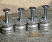 DIY Stone Cabinet Knob Kit - Brushed  Aluminum Base - Set of Four, Make your own knobs, knob bases, cabinet knobs