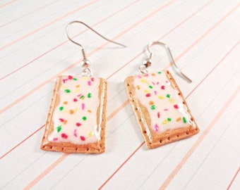 Rainbow Sprinkled White Frosted Polymer Clay Pop-Tart Earrings