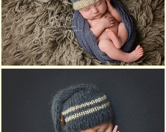 SALE!  Twins Newborn bonnet hat Newborn twins hat Newborn knit bonnet Photo prop Baby boy hat  Baby twins bonnet