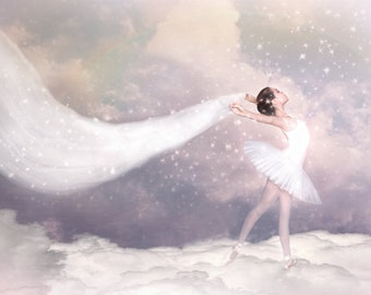 A Sort of Fairy Tale--photographic art print of young ballerina in a tutu floating on a cloud