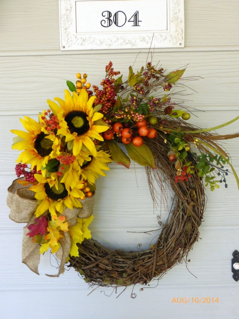 Autumn sunflower wreaths fall wreaths front door wreaths Fall autumn door wreaths