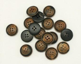 12 pcs 0.7 Inch Plastic Buttons 20mm Round Button Sweater Button Supplies button Unique Brown Tone Round Buttons 4 hole - Annielov Button 35