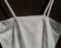 Victorian White Cotton Slip Lace Trim Handmade Monogram Medium Thick Cotton