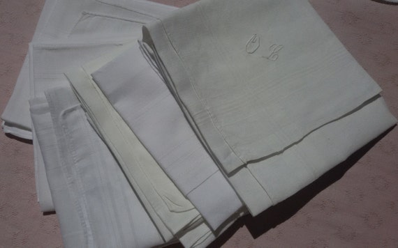 8 Antique White Cotton Men's Handkerchiefs Large  Monogrammed French Tissues Pocket Squares #sophieladydeparis