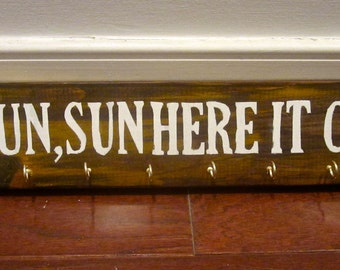 Wooden Wall Mountable Jewelry Holder - Sun, Sun, Sun Here It Comes