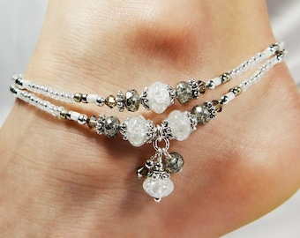 Anklet, Ankle Bracelet, White Anklet, Double Strand Anklet, Bridal Anklet, Beaded Anklet,  Beach Jewelry, Vacation Jewelry, Wedding Jewelry
