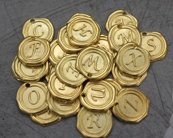 You Choose 2 Wax Seal Initial Alphabet Charms Antiqued Gold Tone Gold Base Metal Pendants 18 mm