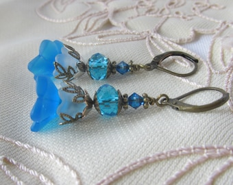 Blue Flower Earrings Teal Crystal Antique Silver Prom Special Occasion Romantic Formal Wear