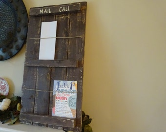 large rustic chic / mail organizer / wooden wall hanging / rustic home decor