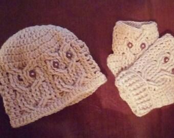 Crochet Owl Hat & Fingerless Gloves
