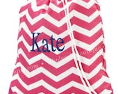 DANCE BAG - Gym - Ballet - Sports - Bride or Bridesmaid Bags Monogrammed (Pink and White Chevron)