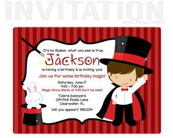 MAGIC BOY 3 Birthday Party Invitations, personalized thank you cards, birthday invitations, party invitations / No.234)