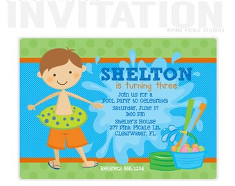 Pool Party Invitation, Pool Party Invite, Pool Invitation, Pool Birthday Party, Pool Party, Pool Party Printables, Splash Party, Pool //278