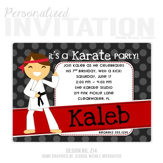 Karate Birthday Party Invitations By PinkPickleParties On Etsy